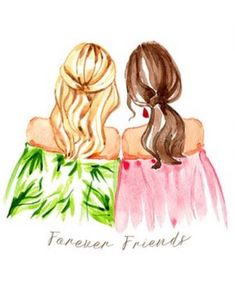 Best Friend Drawings, Girly Drawings, Pencil Art Drawings, Drawing Of Best Friends, Bff Pics, Friend Pictures, Girl Drawing Sketches, Best Friends Forever, Cartoon Art