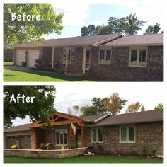 before and after the update of the ranch-style exterior Ranch Exterior, Exterior Remodel, Craftsman Remodel, Exterior Signage, Cottage Exterior, House With Porch, House Front, Front Porch Addition, Front Deck