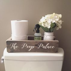 Toilet paper holder / Nice Butt / Wood Box / Bath Storage / Toilet Box / Farmhouse Bathroom Decor / The Poop Palace / Toilet Paper Box - Bathroom Ideas Wood Boxes, Small Bathroom, Cheap Bathrooms, Small Bathroom Decor, Bath Storage, Toilet Paper, Bathroom Decor, Toilet Paper Holder, Chic Bedroom Design