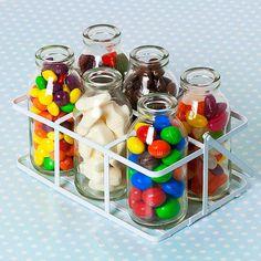Sweet Filled Mini Milk Bottles in Crate by SweetToothCandyShop, £14.99 Mini Bottles, Glass Milk Bottles, Glass Jars, Mason Jars, Penny Sweets, Retro Party, Bottle Crafts, Happy Jar, Bazaar Ideas