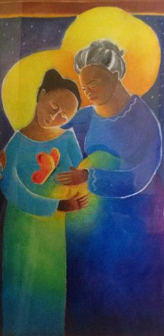 """A VISITATION  Brother Michael McGrath, OSFS, who created for us the """"Windsock Visitation"""" that hangs in the Fremont living room, also created a Visitation that hangs in the stairwell at Girard. The women in the painting could be of any ethnic background. He had heart that teh initial experience of pregnancy is like a butterfly, here depicted under Mary's heart."""