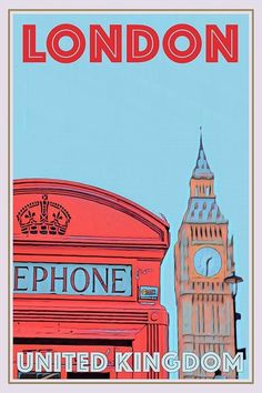 United Kingdom Vintage Art Deco Posters, Vintage Travel Posters, Cool Posters, Poster Wall, Poster Prints, Travel Collage, London Poster, Blue Poster, Online Posters