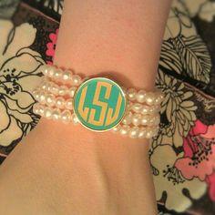 Monogrammed Freshwater Pearl Bracelet