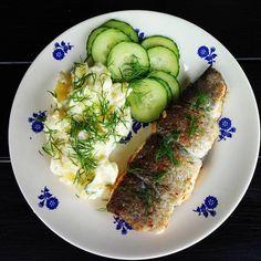 Edel's Mat & Vin : Urtefylt fjellørret med dillstuede poteter og agur...