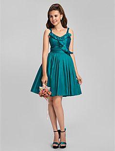 una línea princesa correas espaguetis rodilla-longitud tafetán drapeado vestido de dama de honor
