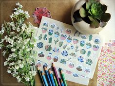 Succulents Theme Sticker Doodles for your Travelers Notebook, Midori, Filofax, Hobonichi, Planners - ST002