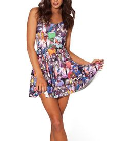 2014 Summer New Fashion Women's Pleated The Walking Dead Digital Print Galaxy Black Milk Skater Dress Big Skirt Free Shipping $8.56