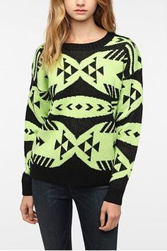 Nameless Neon Graphic Pullover Sweater