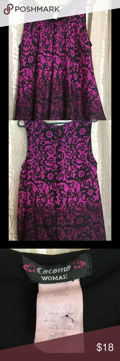 Beautiful purple print shell Worn once, women's Cocomo purple, sheer shell/blouse with black tunic underneath. Women's size 2x, nice and long Tops Blouses