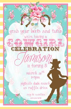 Horse cowgirl invitation template birthday rustic printable shabby shabby chic cowgirl printable invitation by partypoppapers on etsy filmwisefo Images