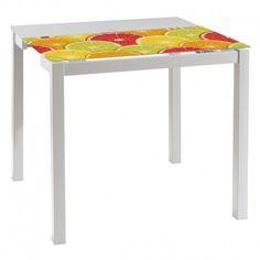 Mesa de cocina extensible,estructura con recubrimiento gris epoxi-poliester y encimera de cristal templado      Ancho: 90 cm     Largo: 45 a 80 cm     Alto: 75.6 cm