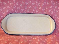PFALTZGRAFF YORKTOWNE Butter Dish Bottom w/out Lid Gray w/ Blue Border Edge #Pfaltzgraff #Yorktowne