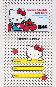 BARNES & NOBLE COLLECTIBLE GIFT CARD! HELLO KITTY PRIMARY COLORS! W/ENVELOPE!