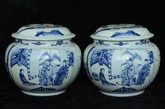 Pair of Chinese Blue and White Jars Kangxi