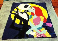 This listing is for a custom crocheted Nightmare Before Christmas graph blanket. Blanket Measures approximately 60 wide by 72 in height and is crocheted with I Love this Yarn brand yarn. (Blanket in picture is laying on a Cal King bed) All custom blankets differ from size depending on the picture used in the graph and take anywhere between 3-5 weeks to complete since all orders are made to order. Custom orders are more then welcomed! Please submit a custom order from my home page and attach…
