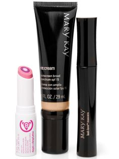 For the girl on the go, get the perfect makeup trio. It's natural beauty in a flash, so you're ready to dash. Set includes: Mary Kay® CC Cream Sunscreen Broad Spectrum SPF 15* in Light-to-Medium Mary Kay At Play Triple Layer Tinted Balm in Pink Again Mary Kay Lash Love Mascara.   Mary Kay