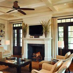 Traditional Living Room Dark Trim Design