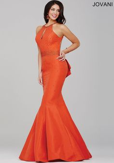 Jovani Prom 33064 Stunning Sleeveless Mermaid Dress Features A Plunging Back With Ruffle Detail