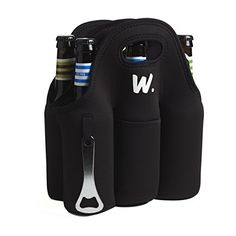 Camping Coolers - Insulated 6 Pack Beer Bottle Carrier with Opener Thick Neoprene Bag Keeps Cold and Protected Machine Washable * More info could be found at the image url.