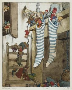 """""""Christmas Thieves""""<br>signed and annotated (lower right) """"Rough Sketch W. Heath Robinson"""" and titled (lower left)<br>watercolor and pen-and-ink on paper (some light surface soiling), matted and framed<br>19 1/4 x 14 3/4 in. (488 x 376 mm), sheet size<br><br>This was exhibited in <I>The British Art of Illustration 1800-1998</I>, no. 496."""