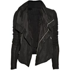 Rick Owens Textured-leather biker jacket (€2.165) ❤ liked on Polyvore featuring outerwear, jackets, tops, coats, black, biker jacket, asymmetrical zipper jacket, rick owens jacket, textured leather jacket and rider jacket