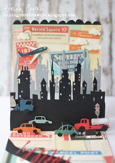 The Dining Room Drawers: Pop It Ups & Tim Holtz Sizzix Cityscape Skyline & Commute Birthday Card