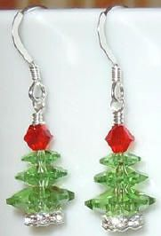 cute Christmas tree earrings - Swarovski Crystal Beads and Jewelry Components