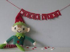Elf accessories Nice list mini bunting unique elf by MeriMakes