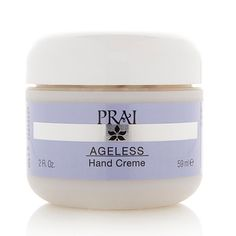 PRAI Ageless Hand Creme- -Two areas where people can tell your age: hands and ear-lobes. Hands can be helped (so they say) and you're on your own with the ear-lobes. My left lobe split on Thanksgiving morning. I have to go to a  PLASTIC SURGEON to have it repaired and insurance doesn't pay.