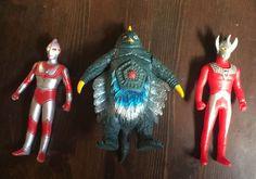 "3 Ultraman Figures JACK & RED 2000 BANDAI POSEABLE Soft Vinyl BEMSTAR 1993 6"""