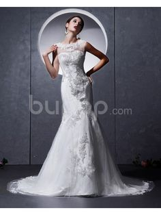 Satin and Tulle Jewel Neckline Chapel Train Sheath Wedding Dress with Embroidered