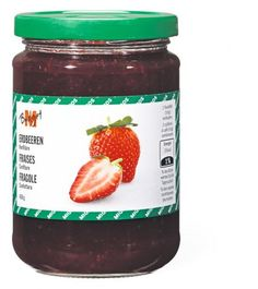 Bild von M-Budget Konfitüre Erdbeer Budget, Nutella, Salsa, Strawberry, Jar, Fruit, Drinks, Bottle, Desserts