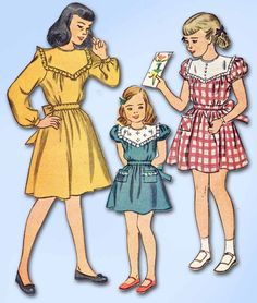 1940s Vintage Simplicity Sewing Pattern 1700 Easy Uncut Toddler Girls Dress Sz 6