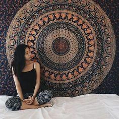 Tapiz Indio Hippie Mandala De Elefantes Colcha Manta Étnica Arte