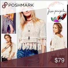 "❗1-HOUR SALE❗FREE PEOPLE BOHO FRINGE SWEATER RETAIL PRICE $108 SIZING- M = 8-10, L = 12-14 💟 NEW WITH TAGS 💟 Free People Boho Tassel Fringe Sweater * Super soft fabric * Relaxed, loose knit slouchy pullover, & oversized style * Boatneck; Elbow length sleeves * Tassel Fringe trim  * Approx 25"" Long  Fabric: 100% cotton Color: Ivory Item#FP96900 SEARCH# embellished 🚫No Trades🚫 ✅ Offers Considered*✅ *Please use the blue 'offer' to submit an offer Free People Sweaters Crew & Scoop Necks"