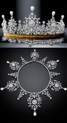 TIARA / NECKLACE DIAMOND AND PEARLS IN TWO FITTED CASES BY COLLINGWOOD AND CARTIER. Antique or antique-style.