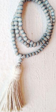 Image of Love Bead Necklace - Wooden Beads in Faded Denim with Cotton Tassel