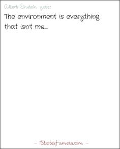 Famous environmental quotes - Albert Einstein  - The environment is everything that isn't me.