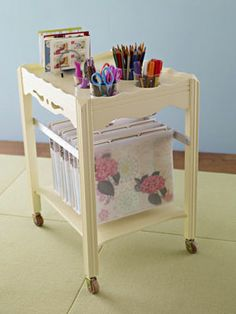 Side table converted to file cart. As seen on The Decorologist.