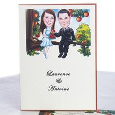 Faire-Part Mariage Elegant Avec Caricature Des Maries Sur Le Pommier JM205