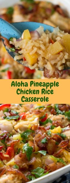This Aloha Pineapple Chicken Rice Casserole fills that need. It's got all the makings of a meal – chicken, rice, and veggies – in one casser. Chicken Rice Casserole, Casserole Dishes, Casserole Recipes, Casseroles With Chicken, Crockpot Rice Recipes, Summer Casseroles, Rice Meals, Food Dishes, Main Dishes