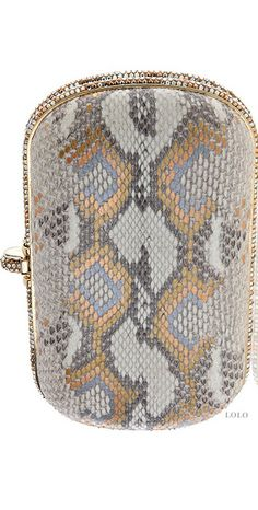 Rene Caovilla metallic snake skin clutch | House of Beccaria~
