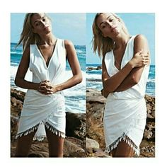 Sexy cover up Beach white cover up Rose Dresses