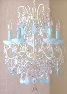 This Spectacular Vintage Inspired 5 Light Chandelier Has Been Painted A  Beautiful Ivory And Adorned With Milky Opal Aqua Blue French Pendants And  Matching ...