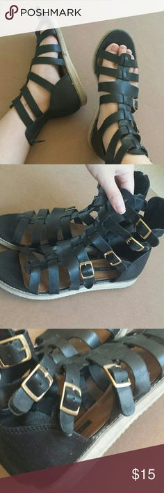 Gladiator Sandals Black with gold buckles. A bit structured and goes past the ankle with the zipper in the back. Actually comfortable and won't scrape your foot. Forever 21 Shoes