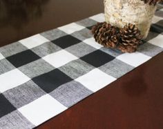 Black Table Runner Table Cloth Black White Buffalo Check Cabin Woodland Decor Premier Prints Black and White Plaid