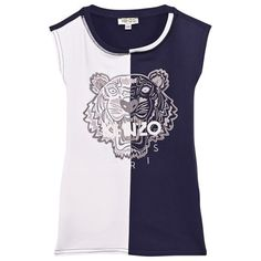 Kenzo Kids Navy and White Two Tone Tiger Dress