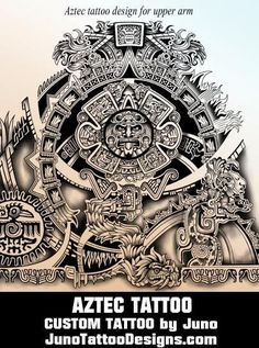 Aztec calendar tattoo, tribal tattoo, juno tattoo designs