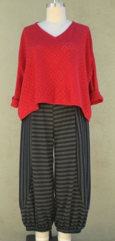 Fall+lagenlook+ | Lagenlook Fall Bumper Pant Gray/Black Stripes 1X-3X Plus Sizes Cotton ...