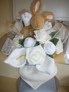 Baby sock bouquet with Little Nutbrown Hare.
